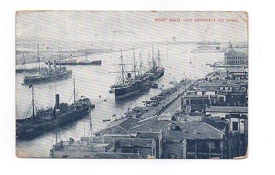 Old Postcard Suez Canal Port Said Egypt Posted 1914 Ships Shipping