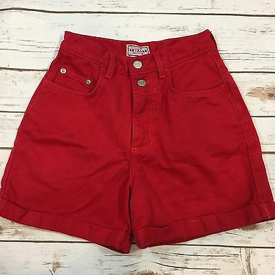 "Vintage 90s Arizona Jean Red Colored Denim High Waist Shorts Size 3 (24"" Waist)"