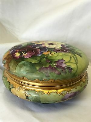 Antique T&V Limoges Hand Painted Gilt Large Dresser Jar Artist Signed