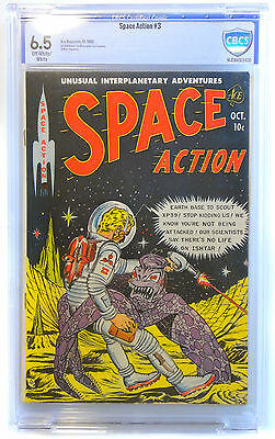 Space Action #3 Comic Cbcs (Like Cgc) Graded 6.5 - Oct 1952 Off-White/white Pgs
