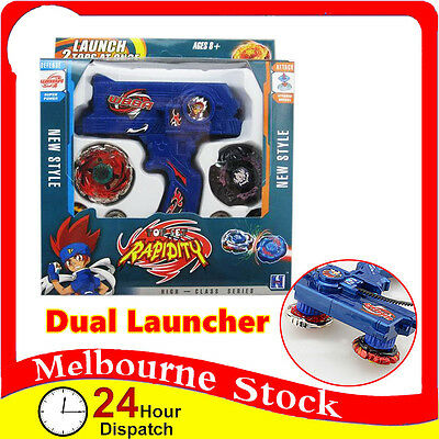 4D Dual Launcher Metal Master Rapidity Fusion Fight Rare Beyblade Grip Set