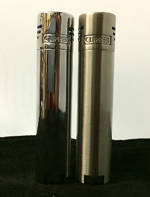 1 x Chrome, Electronic, Jet Flame Clipper Lighter (refillable) & Metal Case EB65
