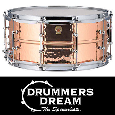 """Ludwig Copperphonic 14x6.5"""" Snare Drum RRP $1699 Hammered Copper Shell Tube Lugs"""