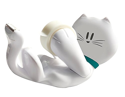 Dispenser with Magic Tape 3M With Kitty Design White Refillable Dispenser Sturdy