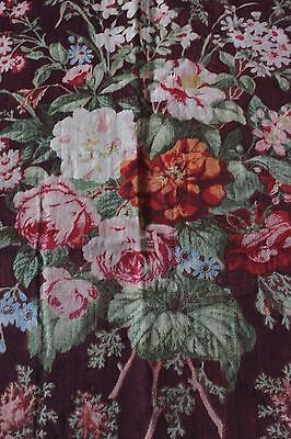 Rare Large Scale French Antique Wool Chalis Floral Fabric Textile c1860