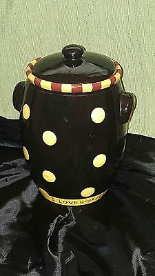 "HTF Lang ceramic cookie jar ""What's for dinner?"" yellow polka dots discontinued"