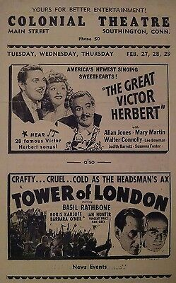 1939 movie flyer BORIS KARLOFF, TOWER OF LONDON, LAUREL AND HARDY, others