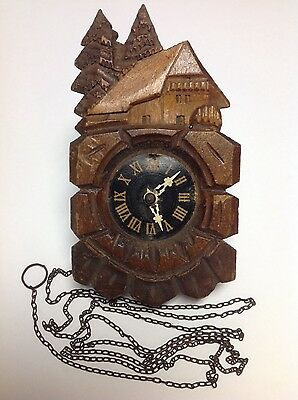 Vtg Hand Carved Wooden Cuckcoo Clock Replica
