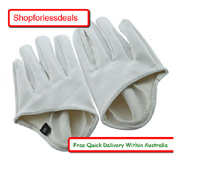 Gloves Leather Finger Half Palm White Fingers Driving Pu Fashion Ladys Ladies Wh
