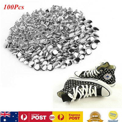 100 Metal Rivet Studs For Jacket Shoes Belts Clothes Bag Leather Craft Punk Rock