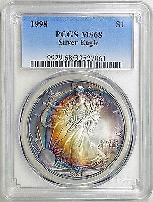 1998 American Silver Eagle PCGS MS68 Beautiful Rainbow Toned $1