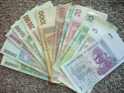 Collection Of 12 Zimbabwe Banknotes From 1 Dollar To 10 Trillion  Dollars