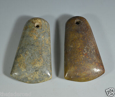 Rare Ancient Chinese Neolithic Pair Of Jade Celts Ax Axe Adz