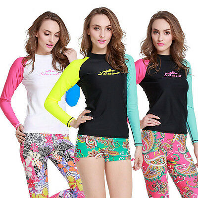Womens Wetsuit Shirt Long-Sleeve CONTRAST COLOR Sbart Floatsuit Wakeboard UPF50+