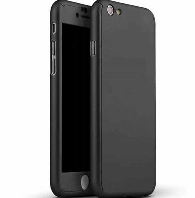 Black iPhone 7 Housing. Shockproof Fitted Case with Glass Screen. 360 Cover