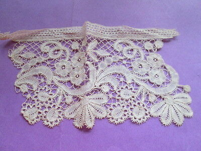 Antique  handmade  lace apllique from off white cotton Brugge lace-3 pieces