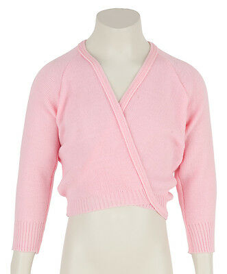 Girls Pale Pink Ballet Dance Soft Crossover Wrap Cardigan All Sizes By Katz
