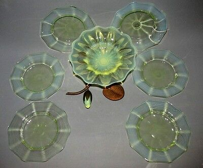 Fabulous 7 Pce Powell Vaseline Glass Dessert Set With Lily Epergne Arts & Crafts