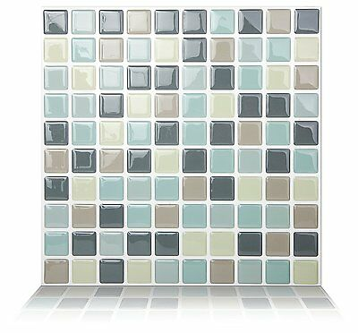 Tic Tac Tiles® - Premium 3D Peel & Stick Wall Tile in Mosaic Mintgray(5sheets)