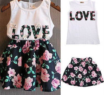 Toddler Kids Baby Girls Summer Outfits Clothes T-shirt Top Skirt Dress 2PCS Set