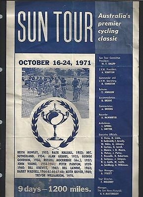 1971 Cycling Classic Sun Tour Full Racing Program Rare as G McVilly