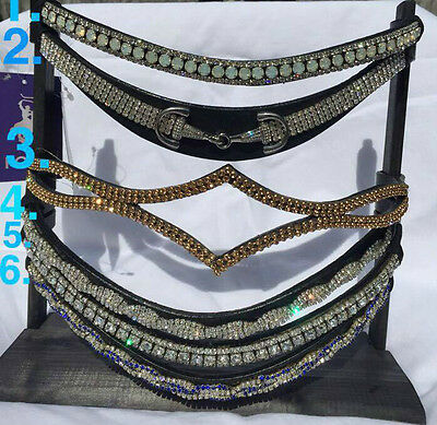 Bling Diamante Brow Band Horse Sparkle Crystal Pony Cob Full Black Leather