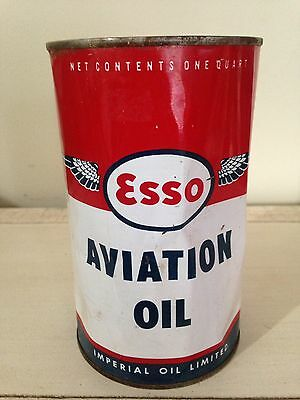 Rare Full Esso Imperial Aviation Wings Quart Motor Oil Gas Pump Sign Garage
