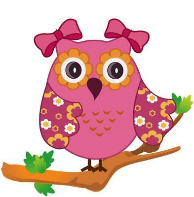 Flower Owl on a Branch Movable Wall Stickers
