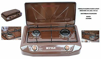 Cooker Gas Kitchen Portable Camping Washbasin Efba Brown Gpl 2 Burners