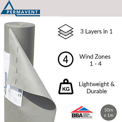 Permavent Eco | Breather Membrane | Breathable Roofing Felt | 1m x 50m