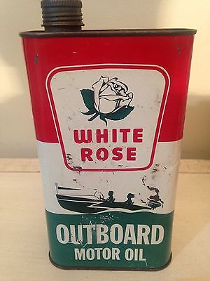 Vintage White Rose Outboard Motor Oil Tin Can Canada Gas Pump Sign Imperial