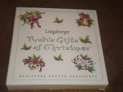 Longaberger Twelve Gifts of Christmas Pewter Ornaments - NIB