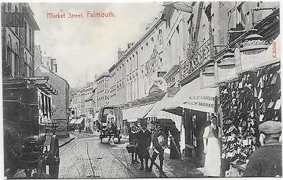 1929  PC MARKET STREET FALMOUTH UNPOSTED c1905
