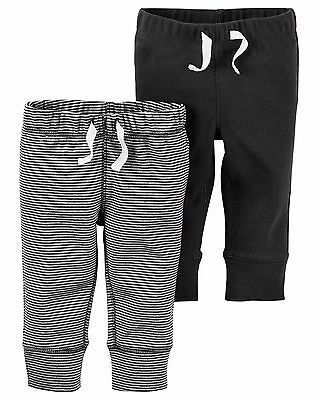 carter's baby girl boy essential striped and solid pull on cotton pants 2pc pack