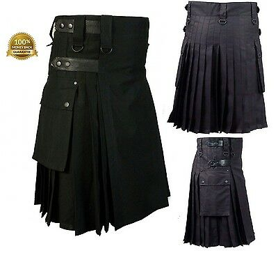 Deluxe Black Men Kilt With Leather Straps Utility Fashion Kilt All Sizes