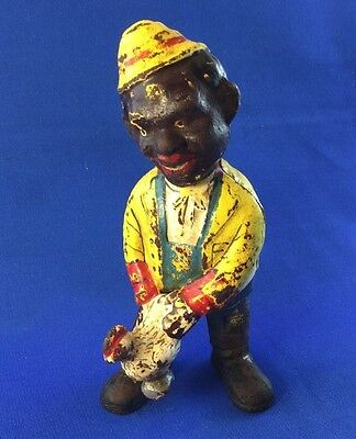 "ANTIQUE BLACK AMERICANA CAST IRON ""MAN with CHICKEN"" BANK"