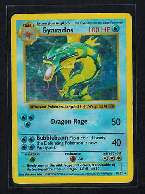 Base Set Shadowless Gyarados - 6/102 - Holo Pokemon Card (MP)
