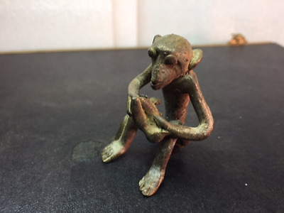 African Tribal Cast Bronze Ashanti Akan  Goldweight- Monkey- Rare