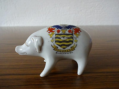 Anglo-Heraldic China Model of a Pig with Blackpool Crest