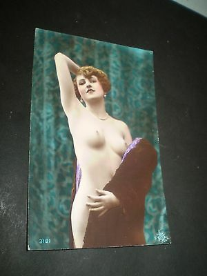 glamour 1920's beautiful tinted flapper rp photo postcard with postcard back 2