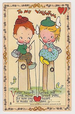 Mabel Lucie Attwell Tuck Valentine Postcard No6 Innocence Abroad Fishing