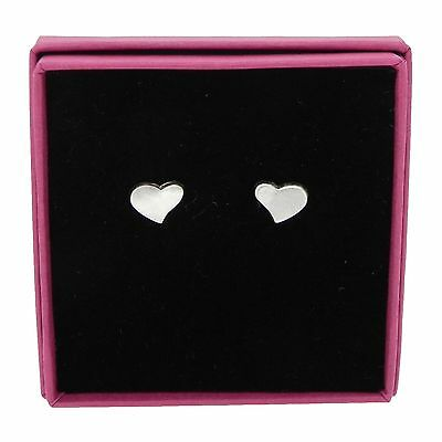 Heart Stud Earrings Brushed Effect 925 Sterling Silver Jewellery 10mm Gift Boxed