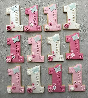 10 x Number One First 1st Birthday Cookies Biscuits Party Bags Favours
