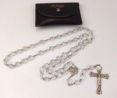 SUPERB & HEAVY Sterling Silver Rosary Cristal Beads STUNNING Center Medal/Cross
