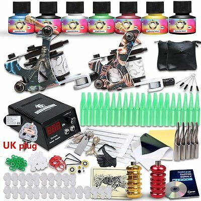 Generic Starter Tattoo Kit 2 Machines USA Brand Inks Colors Top Power Supply