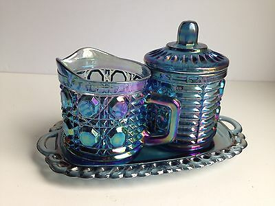 Vintage Blue Iridescent Carnival Glass Creamer Sugar Tray