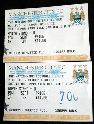Manchester City v  Oldham Athletic   13-3-1999  ticket stubs x2