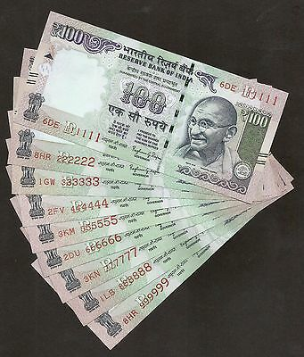 India Rs.100 Banknotes, Solid Fancy Number 111111 To 999999, 9 Notes Set, Unc