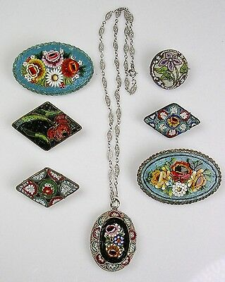 Collection 7pc Victorian Micro Mosaic Pins & Necklace  Italy Top Quality Lot H