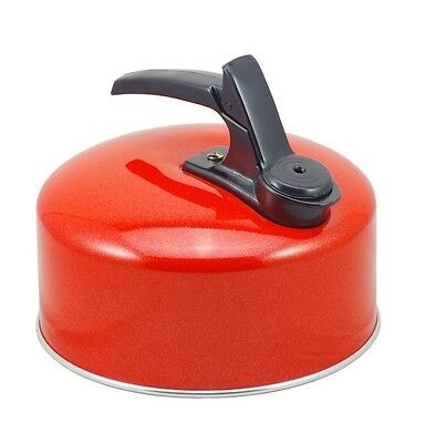 Pendeford Small Light Weight Aluminium Whistling Camping Stove Kettle 1L - Red